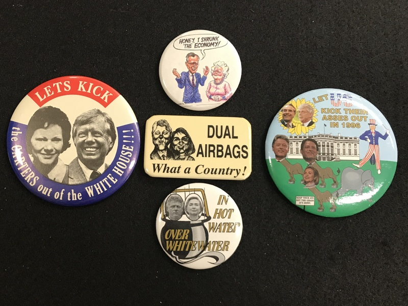Collection of negative campaign buttons regarding First Ladies