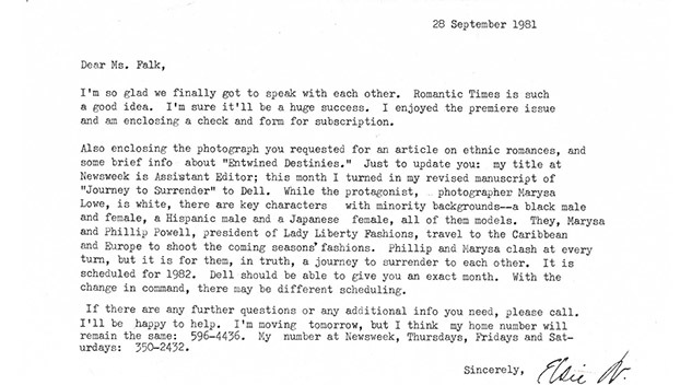 Letter from Elsie B. Washington to Kathryn Falk