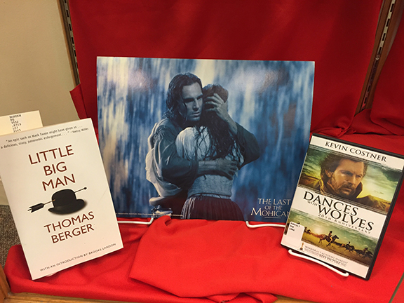 Materials related to the films (L to R) <em>Little Big Man</em> (1970), <em>Last of the Mohicans</em> (1992), and <em>Dances with Wolves</em> (1990)