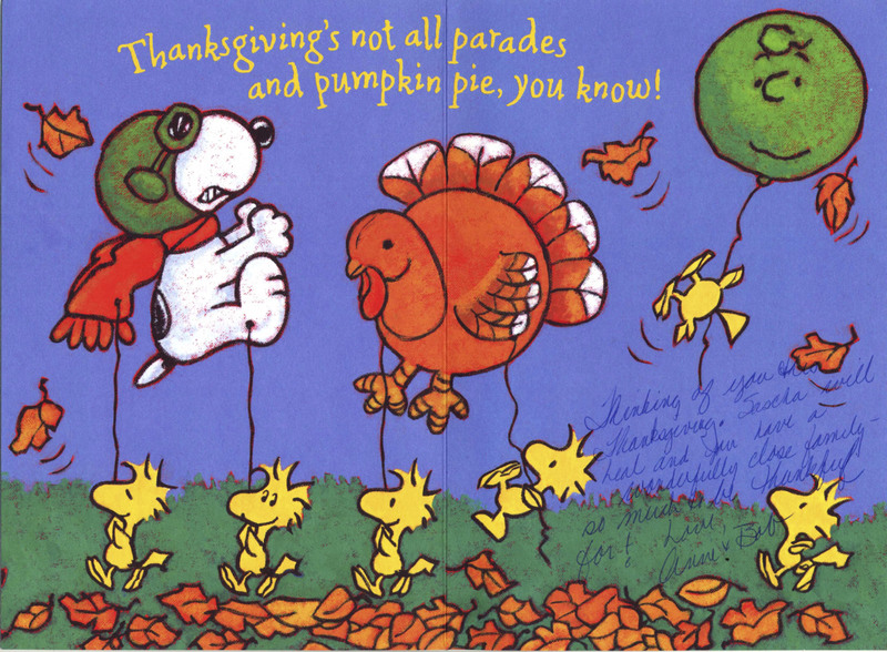 <em>Peanuts</em>-themed Thanksgiving greeting card cover