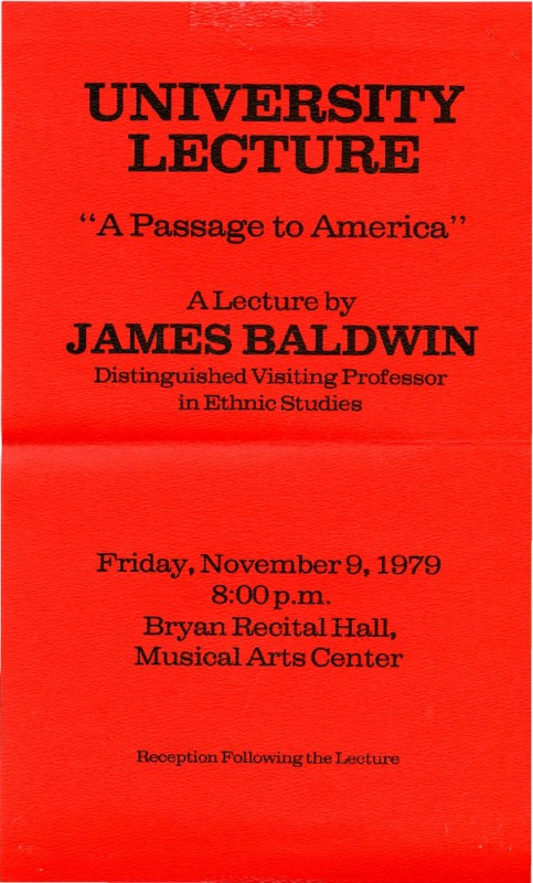 "Flier for James Baldwin's ""Passage to America"" lecture at BGSU"