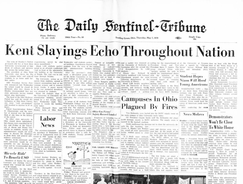 Front page of the <em>Daily Sentinel-Tribune</em> for May 5, 1970