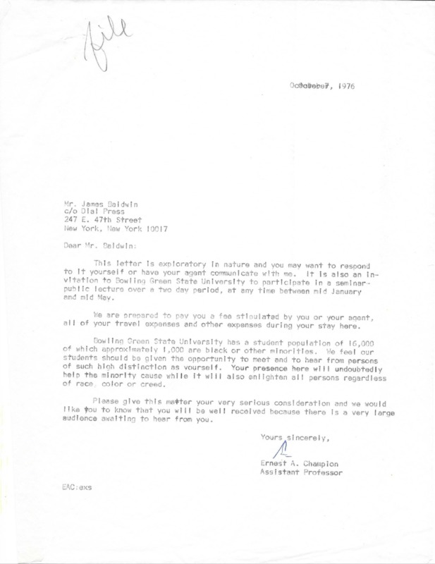 Ernest A. Champion's initial proposal to James Baldwin