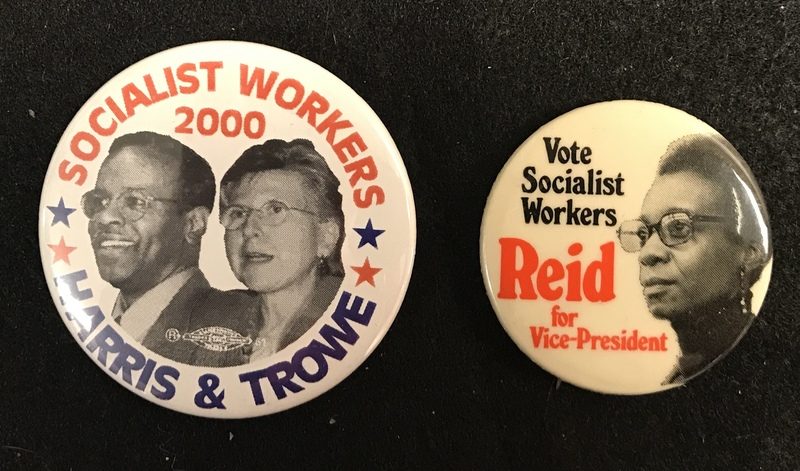 Socialist Workers Party political buttons