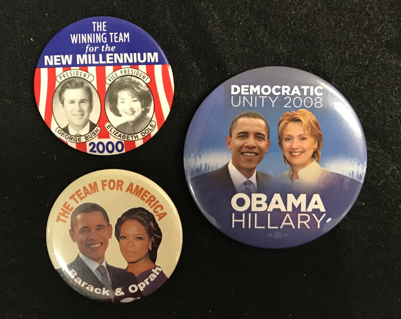 Campaign Buttons for tickets that never came to be.