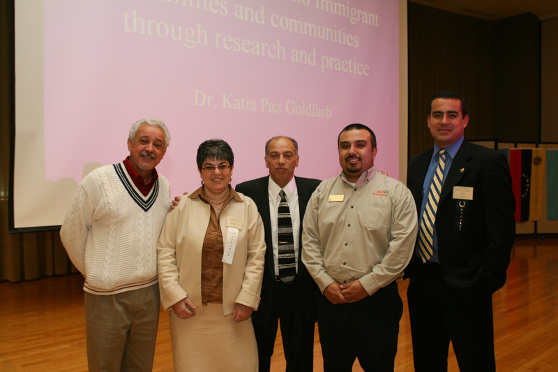 Keynote speaker Dr. Katia Paz Goldfarb with conference attendees at 2007 Latino Issues Conference.