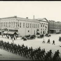 Soldiers marching through Defiance, Ohio, 1919