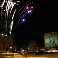 Fireworks over Memorial Hall, with view of Jerome Library