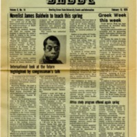 <em>Green Sheet </em>article on James Baldwin teaching at Bowling Green State University