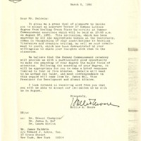Letter to James Baldwin from BGSU President Hollis A. Moore concerning an honorary Doctor of Humane Letters