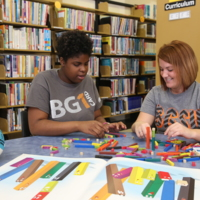 Students working in the Curriculum Resource Center