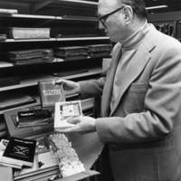 William F. Nolan at Jerome Library donating the Ray Bradbury Collection