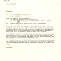 Memorandum recommending James Baldwin for a BGSU honorary degree