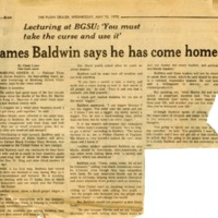 """James Baldwin says he has come home"""
