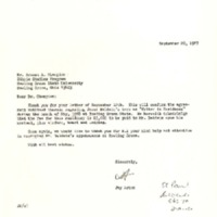 "Letter from Jay Acton to Ernest A. Champion regarding James Baldwin's term as ""Writer in Residence"""