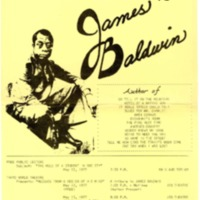 Flier for James Baldwin lecture at BGSU