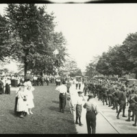Formation of soldiers in street by Defiance Public Library, 1919