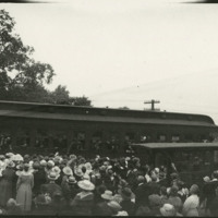 Crowd at train station for departure of soldiers , Defiance, Ohio, 1918