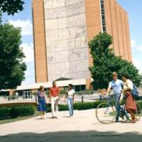 Students on the BGSU campus near the Jerome Library