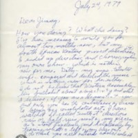 Letter from Joseph A. Walker to James Baldwin