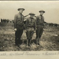 Ray Pratt, Willard Brown, and Bruce Pratt of Company H, 2nd Infantry, Ohio National Guard, at Fort Meigs military encampment