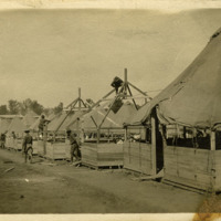 37th Infantry Division troops constructing tents at Camp Sheridan