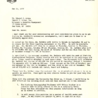 Letter from Ernest A. Champion to Edward J. Acton regarding author James Baldwin's teaching residency at BGSU