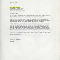 Letter to James Baldwin from Dr. Ernest A. Champion