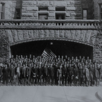 Wood County Selective Service group of 127 soldiers in front of Wood County Courthouse