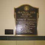 Practical Arts Building plaque