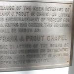 Frank J. Prout Chapel plaque