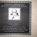 Saddlemire Student Services Building plaque