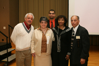 Keynote speaker Dr. Katia Paz Goldfarb at 2007 Latino Issues Conference with attendees and Miguel Ornelas Awards Recipient