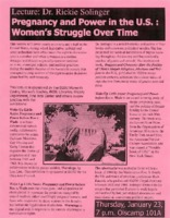 "Flier for lecture on ""Pregnancy and Power in the U.S.: Women's Struggle Over Time"""
