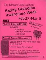 Flier for Eating Disorders Awareness Week activities