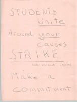Flyer encouraging students to strike classes