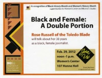 "Flier for talk on ""Black and Female: A Double Portion"""