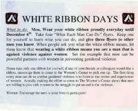 Flier for White Ribbon Days