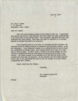 Letter from BGSU President William T. Jerome to Guy A. Smart