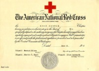 Founding certificate of Wood County Chapter, American National Red Cross