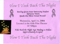 "Flier for ""How I Took Back the Night"" presentation"