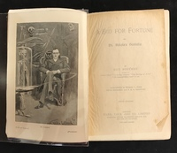 "frontice piece and title page of Guy Botthby's ""A Bid for Fortune"" (1895)."