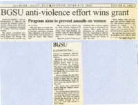 """BGSU anti-violence effort wins grant"""