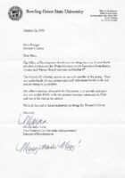 Letter to Mary Krueger, director of the Women's Center from Bowling Green State University Office of Development