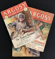 A collection of 1930s Argosy pulp magazines
