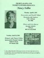Flier for lecture by Nancy Folbre