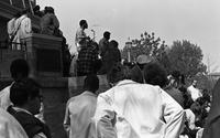 BGSU President William T. Jerome speaking to students after the Kent State shootings