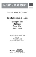 Faculty Composers Forum