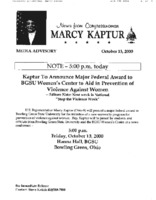 """Kaptur to announce major federal award to BGSU Women's Center to aid in prevention of violence against women"""
