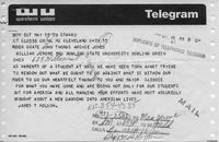 Telegram from James T. Polson to BGSU President William T. Jerome